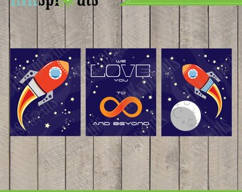 INSTANT DOWNLOAD, Rocket print set, Rocket download, Space, Moon and back, to infinity and beyond, Item 005D