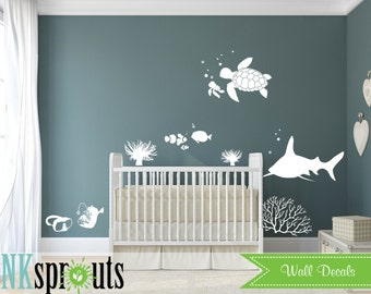 Under the sea Decal, Ocean friends, Whale family, Nautical decal,  Modern Nursery, Nursery decals, Baby Decals,