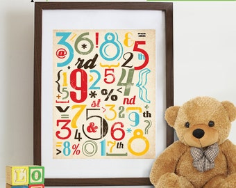 Numers Print, Retro Numbers, Numerical, Typography poster, Hipster, Counting, Nursery print, Boys room, Reading print, Cakes, Item 112