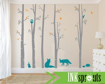 Birch Decal with Woodland Animals ,5 Birch decal, Fox decal, bunnies, birch tree set, Birch forest,Nusery, Modern Nursery, Nursery decals