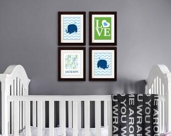 Whale Nursery Print, Sea animal, nautical, Ocean, Sea,  Cute Whale, chevron, Alphabet, Custom name, Item 059
