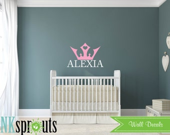 Princess Decal, Name with crown decal, Girls room, Babys Name,Classic, Simple, Modern Nursery, Nursery decals, Baby Decals,