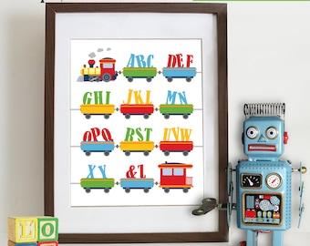 Alphabet Train Print, ABC's, Train Print, Circus, Reading, Transportation, Alphabet, Nursery Print, Boys room, Item 089