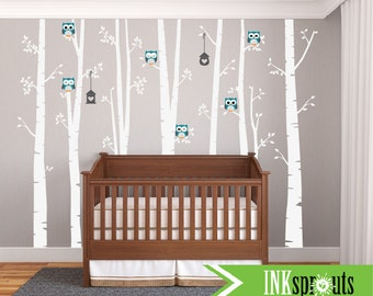 Large Birch Decal with owls, 7 Birch Trees decal, birch tree set, Owl Decal, Modern Nursery, Nursery decals, Baby Decals, Woodland theme