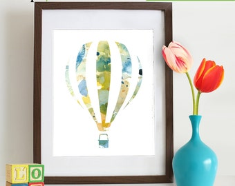 Watercolor Hot Air Balloon Print, Watercolor silhouettes, balloon, The places you'll go, Nursery Print, Transportation, Item  WC011B
