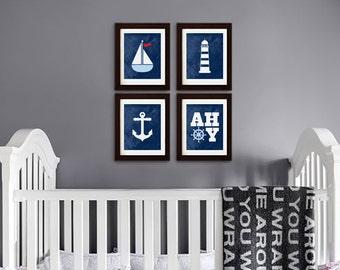 Nautical Print set, Sailing theme, Nautical Quote, AHOY, Sailboat, Lighthouse, nautical nursery, Beach theme, Under the Sea, Item 109