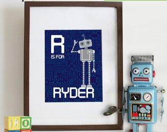 Robot Print with name, Cute Robot, gear, boys room, Nursery print, Robot Nursery, custom name, Item 064