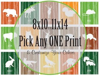 Forest Animal Prints, Birch tree, Forest friends, Animal silhouette, Nursery prints, Animal prints, bear, deer, buck, owl, fox, Item 050