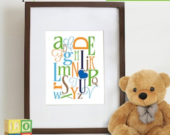 Alphabet Print, I heart You,  Nursery Print, Letters, Typography, Love,  Item 022