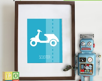 Transportation Prints, Bike Print, Motorcycle Print, Vespa print, Vehicle,  Item 009