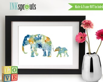 Watercolor Elephant Family Print, Watercolor silhouettes, Safari animals, elephant train , africa,  Nursery Print, animals, ItemWC035