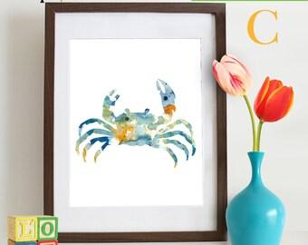Watercolor Crab Print, Watercolor silhouettes, Sea Life, Beach theme, Nursery Print, Ocean print, Under the Sea, Item  WC003