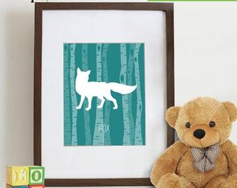 Forest Animal Prints, Birch tree, Fox Print, Animal silhouette, Nursery prints, Animal prints, bear, deer, buck, owl, fox, Item 050