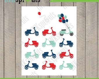 INSTANT DOWNLOAD, Vespa print, retro, paris, balloons, transportation print, nursery print, Item 039D