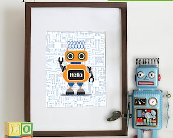 Robot Prints, Andriod, Circuit print, Robots, boys room, Nursery Prints, Robot art, Item 028