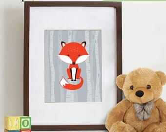 Cute Fox Print, Birch tree, Fox Print, Nursery Fox, Animal silhouette, Nursery prints, Animal prints, fox, Item 062