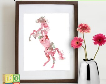 Watercolor Horse Print, Watercolor silhouettes, woodland animals, farm, cowbow, western, Pony, Nursery Print, Forest animals, ItemWC033
