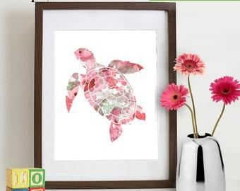 Watercolor Sea Turtle Print, Watercolor silhouettes, Sea Life, Beach theme, Nursery Print, Ocean print, Under the Sea, Item  WC008D