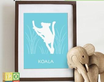 Koala bear, Safari Animal Set, monkeys, Elephant, rhino, hippo, Safari, Giraffe, Animal Silhouette, Lion,  Item 085