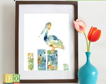 Watercolor Pelican Print, Watercolor silhouettes, Birds, Sea birds, Beach theme, Nursery Print, Nautical, Under the Sea, Item  WC018A