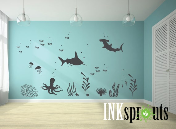 Under The Sea Room Decal 04 Ocean Theme Room Whale Decal Nursery Decal Wall Stickers Fish Octopus Modern Room Decor