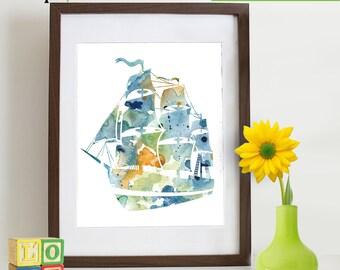Watercolor Ship Print, Watercolor silhouettes, Pirate ship, Boat, Beach theme, Nursery Print, Ocean print, Under the Sea, Item  WC012