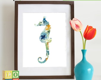 Watercolor Seahorse Print, Watercolor silhouettes, Sea Life, Beach theme, Nursery Print, Ocean print, Under the Sea, Item  WC002