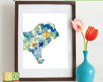 Watercolor Lion Print, Watercolor silhouettes, Safari animals, Lion King , africa,  Nursery Print, animals, ItemWC041