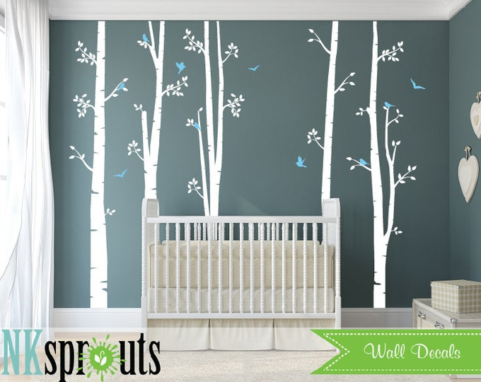 Featured listing image: Set of 5 White Birch Tree Decal with Birds, Large Birch set, birch tree set, Birch forest, Nursery decals, Baby Decals