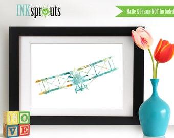 Watercolor Biplane Print, aqua-teal color, Watercolor silhouettes, plane, airplane, Nursery Print, Transportation, Item  WC040