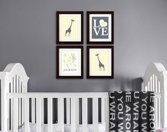 Giraffe Nursery Print, Safari Animal, Cute Giraffe, polkadots, Alphabet, Custom name, Item 056