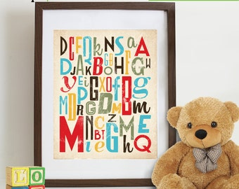 Alphabet Print, Retro Alphabet, numbers, Typography poster, Hipster, girls room, Nursery print, Boys room, Reading print, Cakes, Item 112