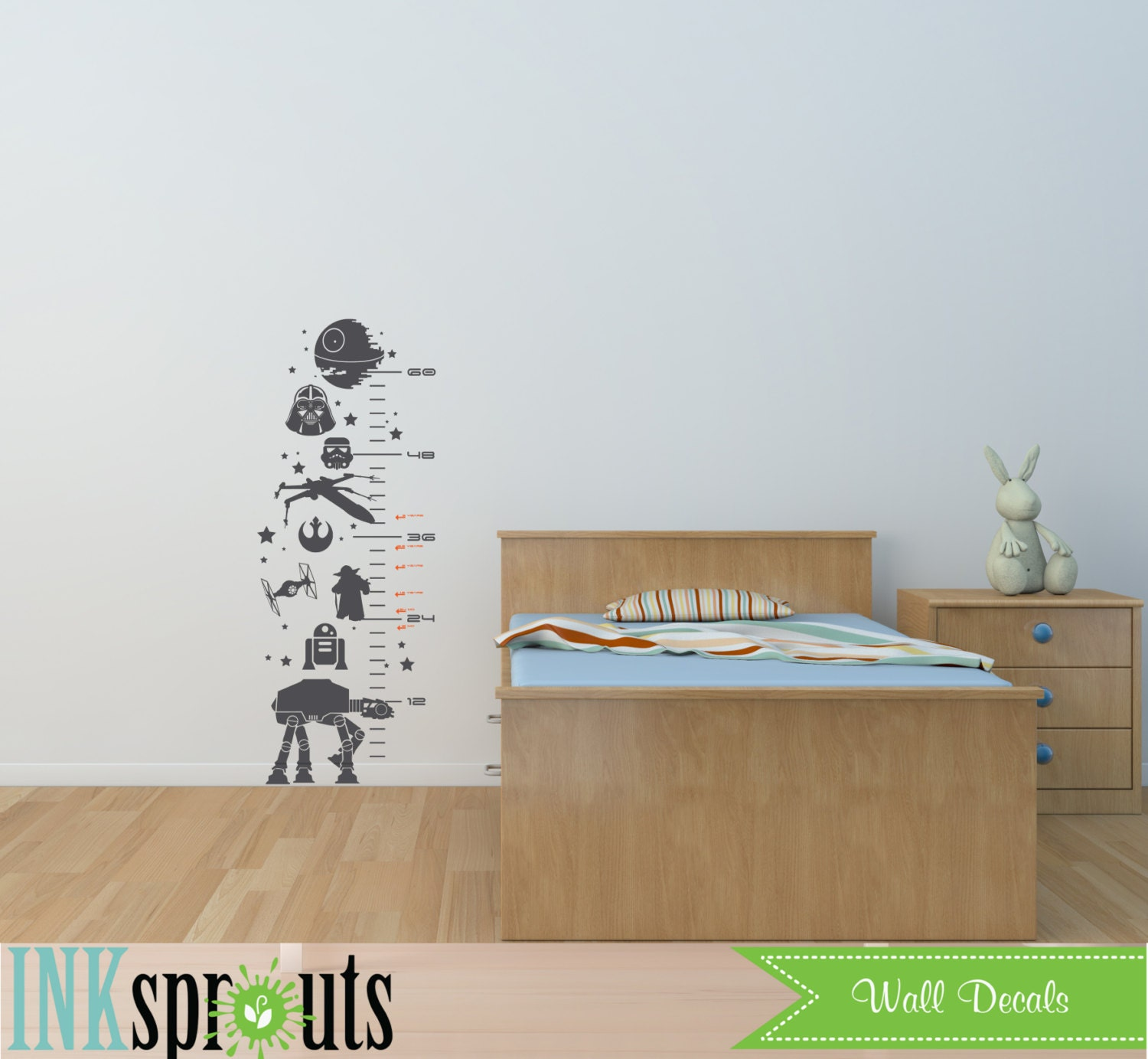 Star wars inspired grow chart decal child growth chart the force