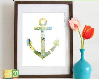 Watercolor Anchor Print, Watercolor silhouettes, Boat, Ship, Beach theme, Nursery Print, Nautical, Under the Sea, Item  WC010B