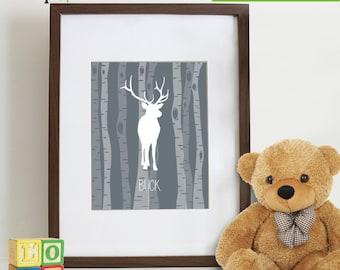 Forest Animal Prints, Birch tree, Buck Print, Animal silhouette, Nursery prints, Animal prints, bear, deer, buck, owl, fox, Item 050
