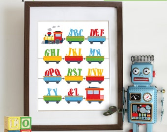 Alphabet Train Print, ABC's, Train Print, Circus, Reading, Transportation, Alphabet, Nursery Print, Boys room, Item 089