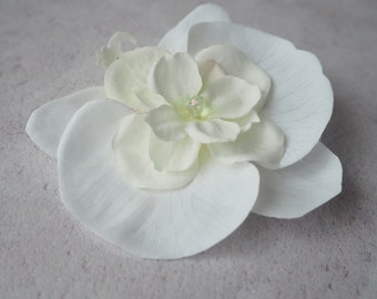 White Silk Orchid Flower Crystal Bridal Hair Corsage With Clip