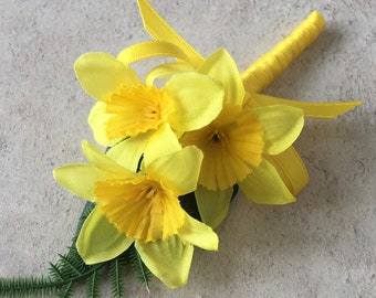 Artificial Yellow Daffodil Silk Ladies Wedding Corsage With Clip