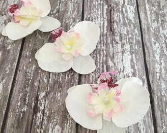 White Silk Orchid Flower Pearled Bridal Hair Corsage With Clip Pack Of 3