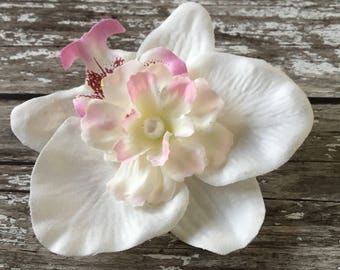 White Silk Orchid Flower Pearled Bridal Hair Corsage With Clip
