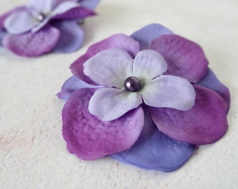 Purple Hydrangea Silk Flowers Pearled Hair Accessory Pack Of 2