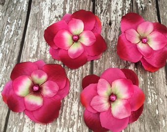 Hot Pink Hydrangea Silk Flowers Pearled Hair Accessory Pack Of 4