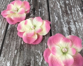 Pink Hydrangea Silk Flowers Pearled Hair Accessory Pack Of 3
