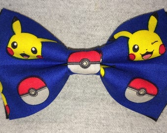 Pokemon Pikachu and Pokeball Premium Double Layer Clip-On Bowtie **FREE Domestic SHIPPING**