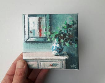 Small Canvas Print Acrylic Painting Flower Stillife Bohemian Tiny Mini 4x4