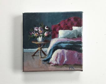 original oil painting, bedroom painting, eclectic interior, tiny painting, small paintings, acrylics on canvas, boho art, mini painting