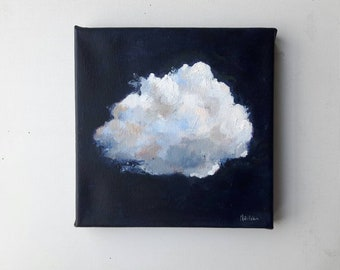 Original cloud painting, sky art original oil painting, sky painting, oil on wood, free shipping, indigo painting, cloud art, contemporary