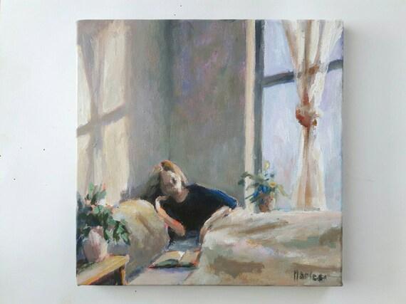 Original Acrylbild Schlafzimmer Malerei lesende Frau kleine | Etsy