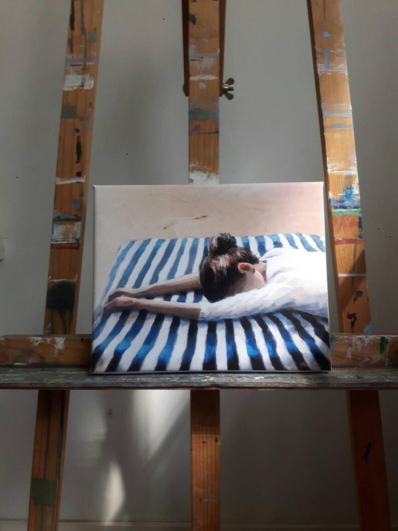 canvas painting 9x12 print sleeping woman glicee on canvas marleenart Woman print on canvas woman print woman painting canvas print
