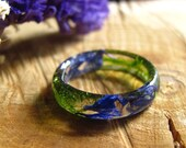 Blue Fairy Ring, Moss Resin Ring, Elf Ring, Woodland Nature Ring, Botanical Flower Ring, Bohemian Forest Ring, Magic Ring for Girlfriend